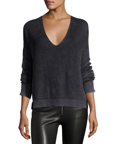 Taylor Washed V-Neck Sweater, Black