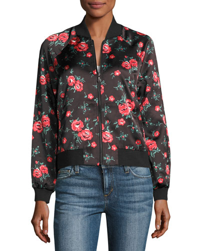 Elsie Watercolor Floral Bomber Jacket, Indigo