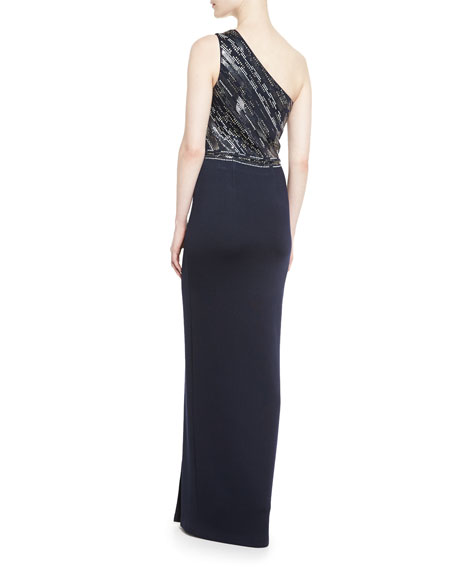 Matte Shine Milano Knit One-Shoulder Gown