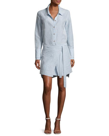 Halston Heritage Long-Sleeve Shirtdress w/ Wrap Skirt, Chambray