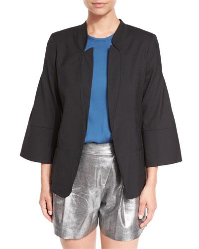 Wide 3/4-Sleeve Stand-Collar Blazer Jacket, Black