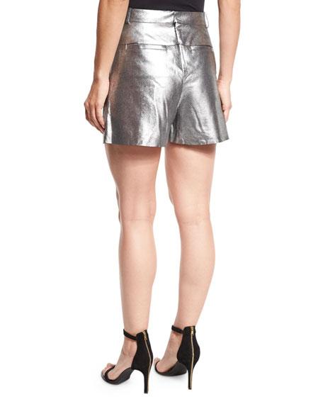 Mid-Rise Metallic Suede Shorts, Metallic Graphite
