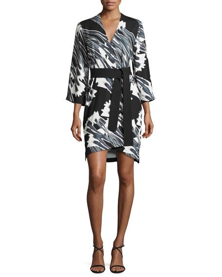 Halston Heritage 3/4-Sleeve Floral-Print Kimono Dress, Black