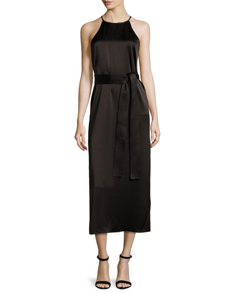 Halston Heritage Racerback Satin Slip Dress