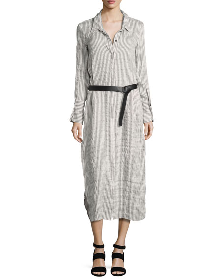 Halston Heritage Long-Sleeve Maxi Pinstripe Shirtdress, Gray