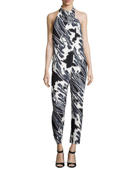 Halston Heritage Tie-Neck Draped-Front Floral-Print Jumpsuit,