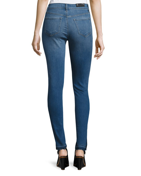 Maria High-Rise Skinny Side-Slit Jeans with Released Hem, Angelic
