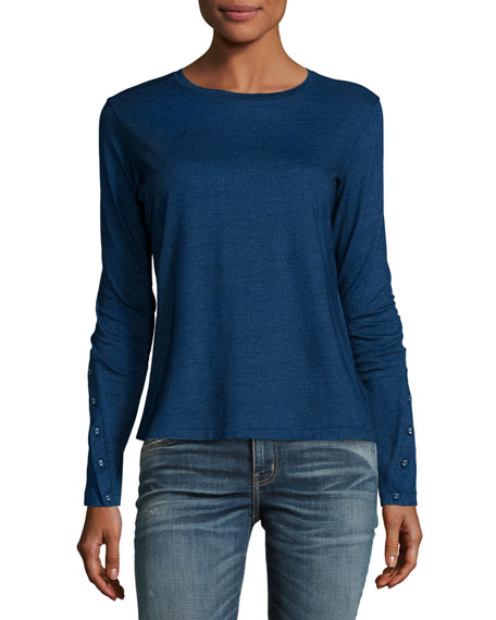 Crete Long Button-Sleeve Tee