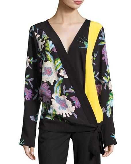 Diane von Furstenberg Floral-Print Silk Crossover Tie Blouse,