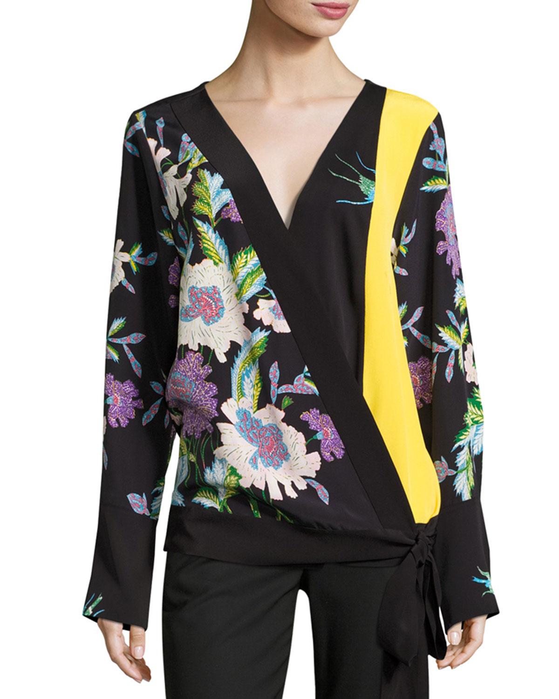 c17372cf3f9112 Diane von Furstenberg Floral-Print Silk Crossover Tie Blouse ...