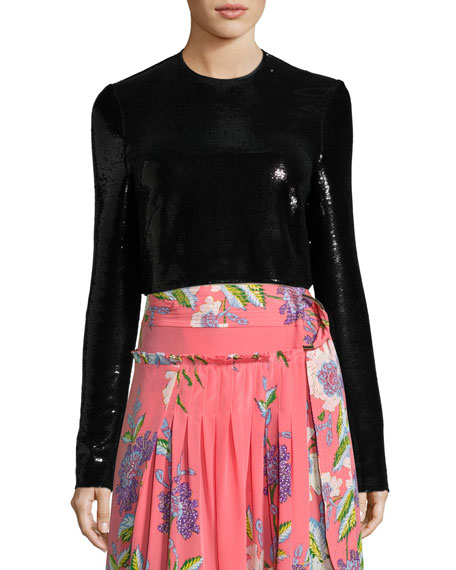 Diane von Furstenberg Long-Sleeve Sequined Crop Top, Black