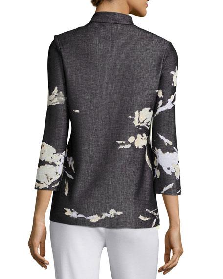 Floral-Print Knit Jacket, Petite