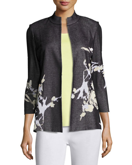 Misook Floral-Print Knit Jacket