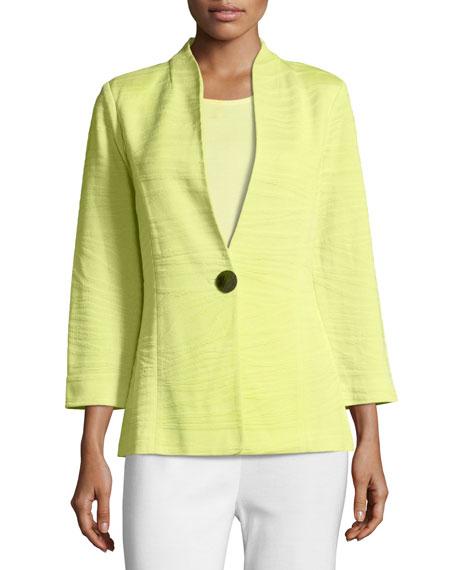 Misook Textured One-Button Jacket, Daiquiri Green