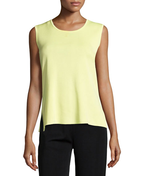 Misook Scoop-Neck Knit Tank, Daiquiri Green
