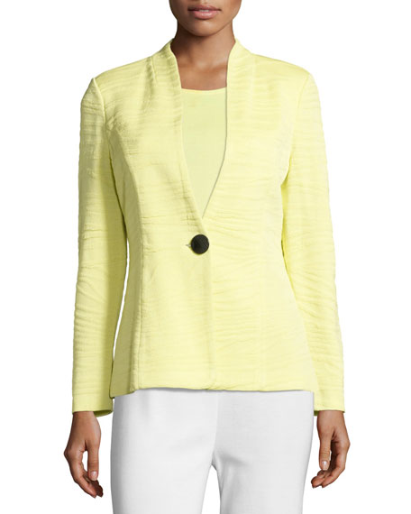 Misook Textured One-Button Jacket, Daiquiri Green, Plus Size