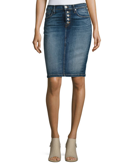 Helena High-Rise Denim Pencil Skirt, Indigo
