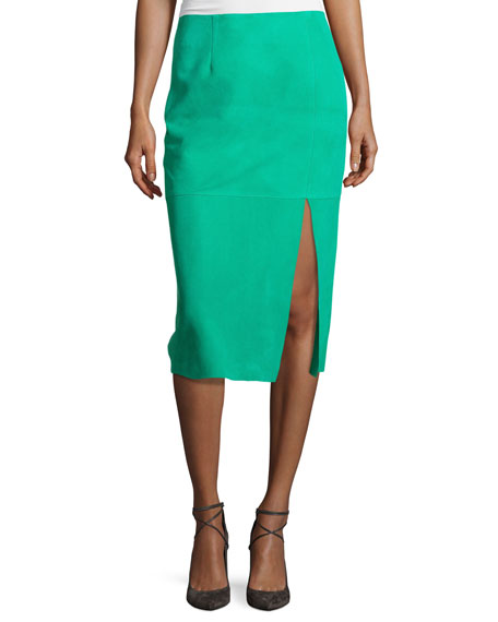 Diane von Furstenberg Suede Side-Slit Pencil Skirt, Blue