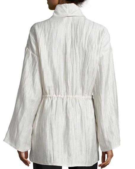 Lazzara Long-Sleeve Belted Topper, Raffia/Multi