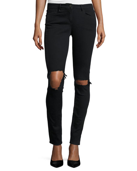 W2 Mid-Rise Distressed Skinny Jeans, Black Fade