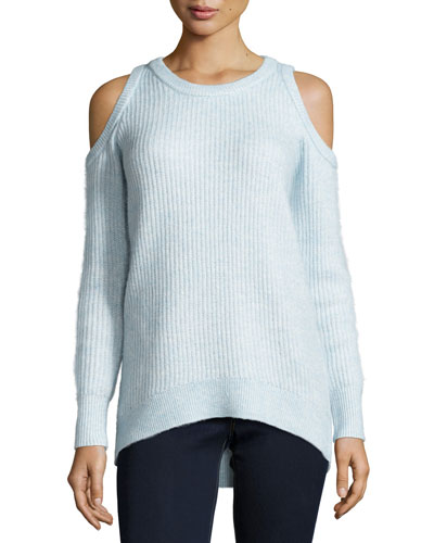 Wool-Blend Cold-Shoulder Crewneck Sweater, Light Blue