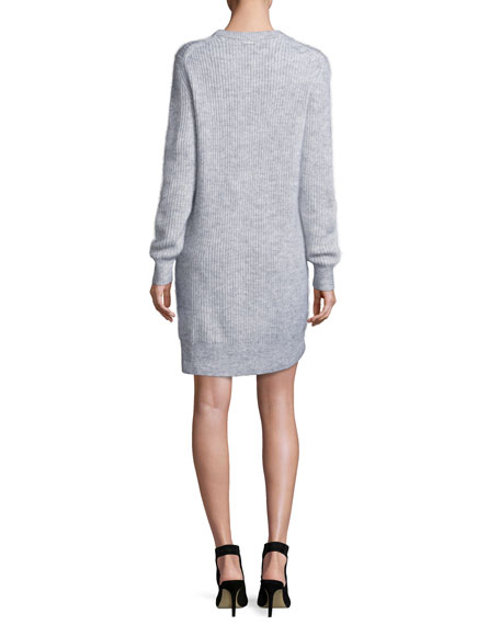 Wool-Blend Crewneck Sweater Dress, Pearl Heather