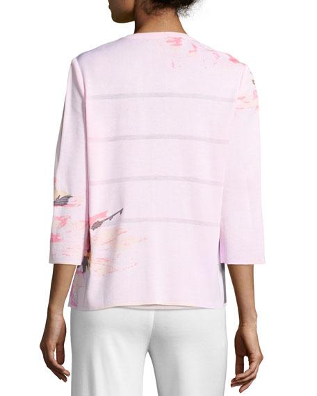 3/4-Sleeve Floral-Print Open Jacket, Pink