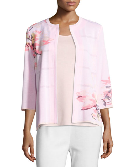 3/4-Sleeve Floral-Print Open Jacket, Pink