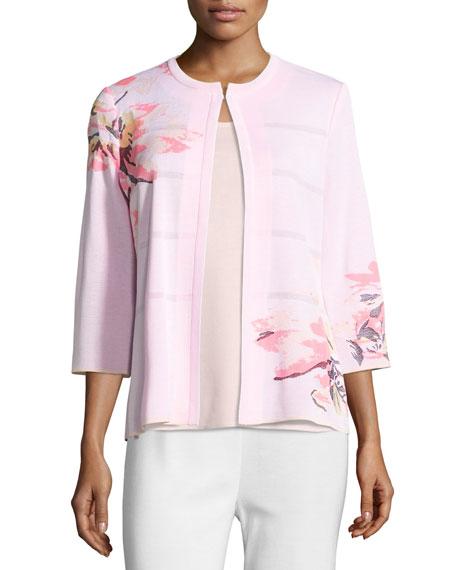 3/4-Sleeve Floral-Print Open Jacket, Pink, Petite