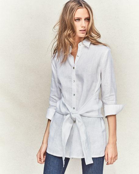 Long Linen Tie-Waist Top, Petite