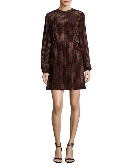 Diane von Furstenberg Long-Sleeve Polka-Dot Silk Mini Dress,