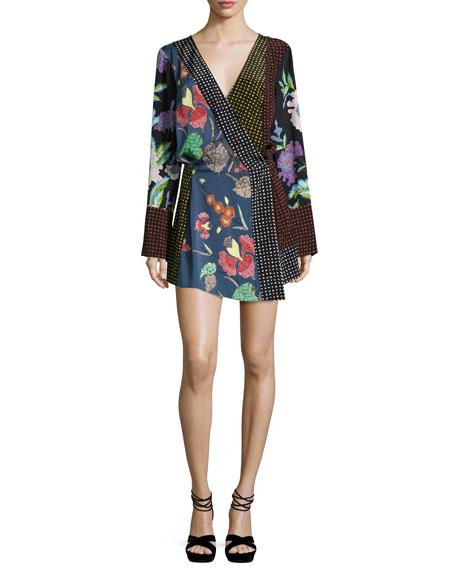 Diane von Furstenberg Floral & Dot Print Silk