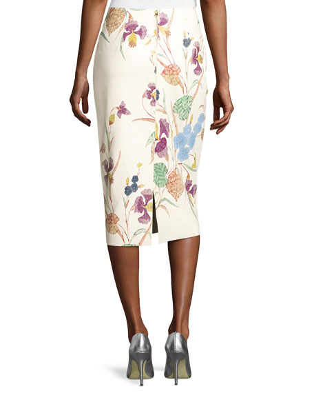 Floral Leather Midi Pencil Skirt, Off-White Multicolor