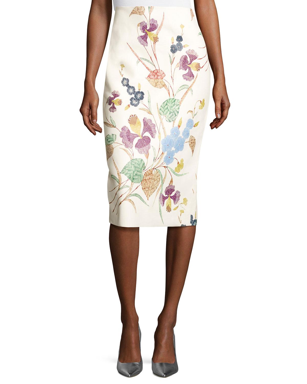 Diane von FurstenbergFloral Leather Midi Pencil Skirt, Off-White Multicolor
