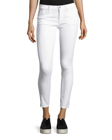 Hudson Nico Mid-Rise Skinny Ankle Jeans, White