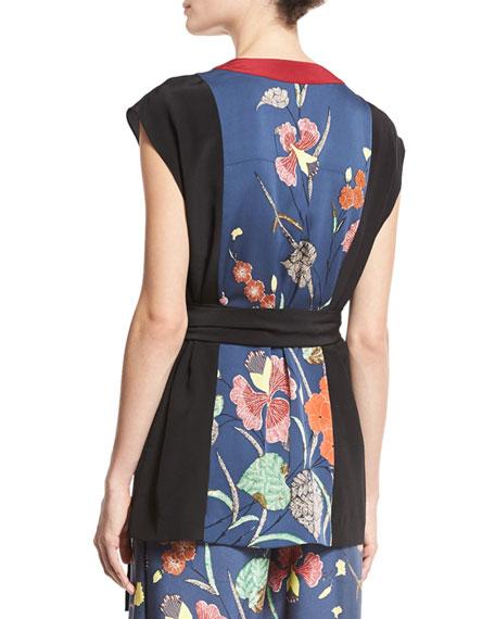 Floral-Print Stretch-Silk Kimono Wrap Top, Multicolor