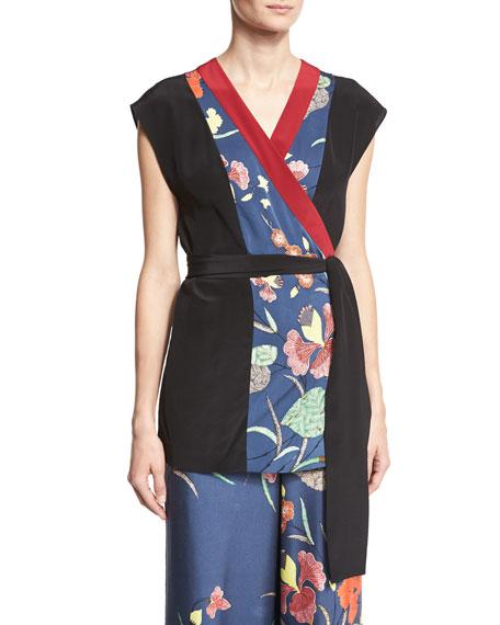 Diane von Furstenberg Floral-Print Stretch-Silk Kimono Wrap Top,