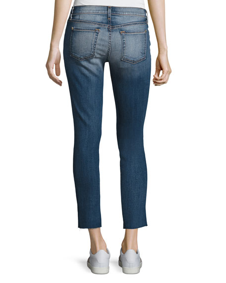Ankle Skinny Jeans with Stem Hem, Distressed Authentic Light