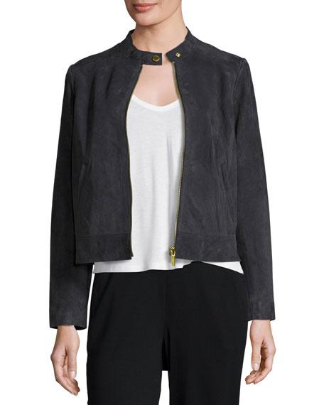 MICHAEL Michael Kors Zip-Front Goatskin Suede Moto Jacket,