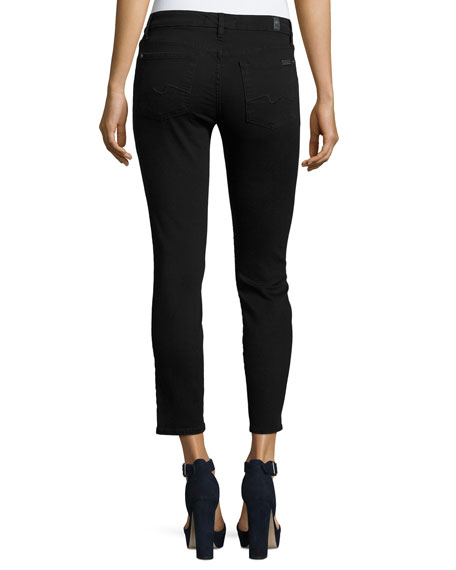 Kimmie Cropped Straight-Leg Jeans, B(Air) Black