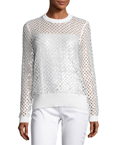 Long-Sleeve Sequined Mesh Sweater, White