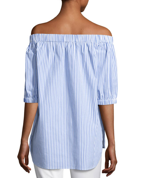 Off-the-Shoulder Striped Shirting Blouse, Oxford Blue
