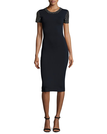 Short-Sleeve Dome-Studded Sheath Dress, New Navy