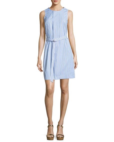 Sleeveless Striped Pleated Dress, Oxford Blue
