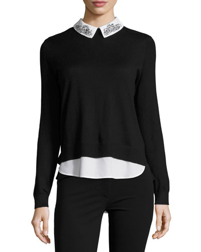 Miriah Embellished-Collar Shirt-Detail Jumper, Black