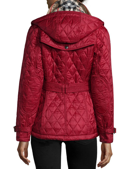 Finsbridge Check-Lined Short Quilted Coat W/ Removable Hood