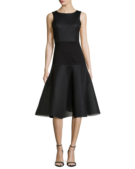 Black Halo Vogue Bateau Fit-and-Flare Dress, Black