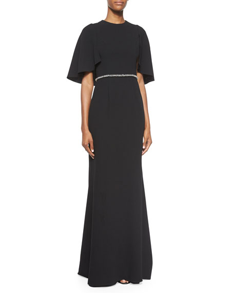 Cape-Sleeve Embellished Gown, Black