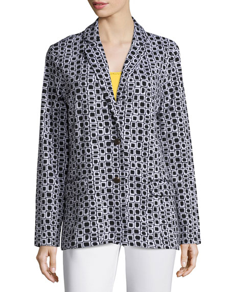 Geometric Jacquard Interlock Jacket, Petite