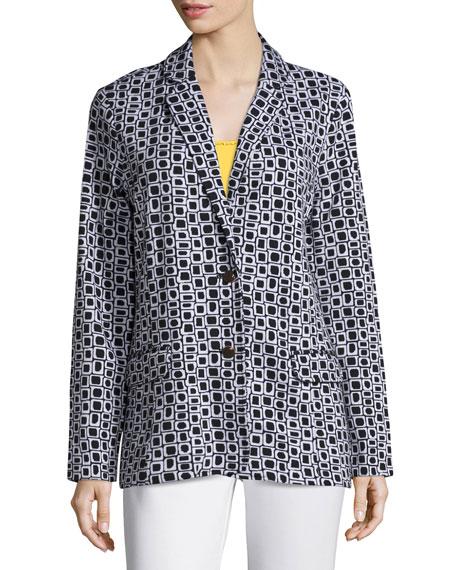 JOAN VASS Geometric Jacquard Interlock Jacket, Plus Size in Black/White